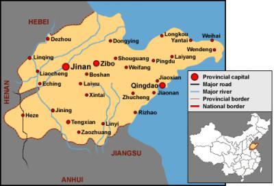 Carte de la région de shandong (à l'est de la montagne)